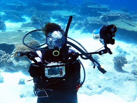 Attempting an underwater selfie!